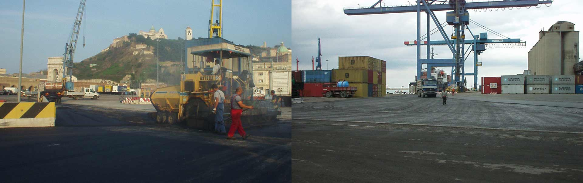 Lavori di Riqualificazione dei piazzali e delle darsene del Porto di Ancona mediante l'utilizzo di C.B. ad alte prestazioni con impiego di bitumi modificati e rete bitumata
